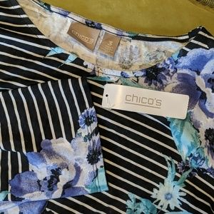 CHICOS Scoop 3/4 sleeve flower stripes NEW 3